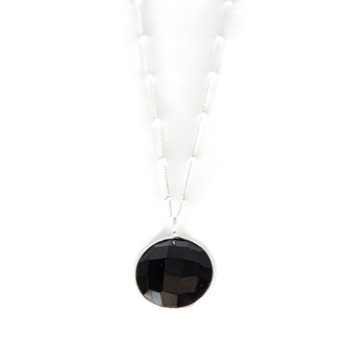 Silver Black Onyx Round Pendant Necklace