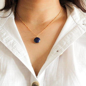 Lapis Ball Chain Necklace