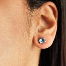 Load image into Gallery viewer, Silver Blue Topaz Studs