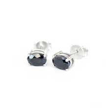 Load image into Gallery viewer, Silver Sapphire Studs