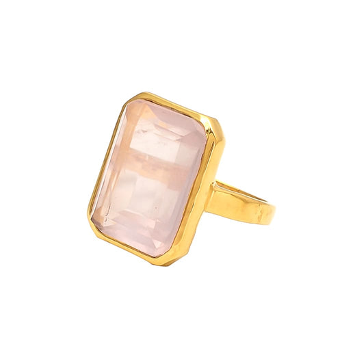 Rose Quartz 14k Gold Vermeil Ring