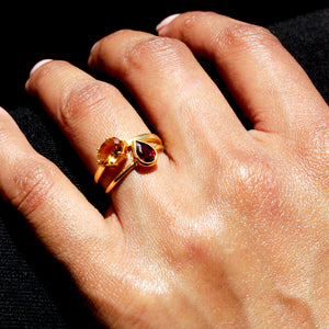 Citrine and Garnet Rings
