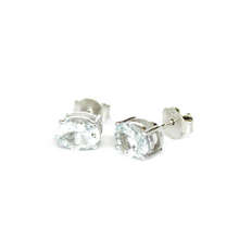 Load image into Gallery viewer, Large Silver Aquamarine Studs