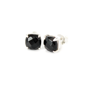 Silver Black Onyx Square Studs