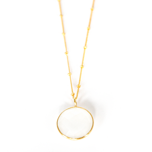Round Milky Chalcedony Necklace