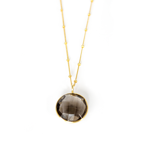 Round Smoky Quartz Necklace