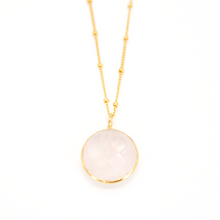 Load image into Gallery viewer, Rose Quartz Round Pendant Necklace