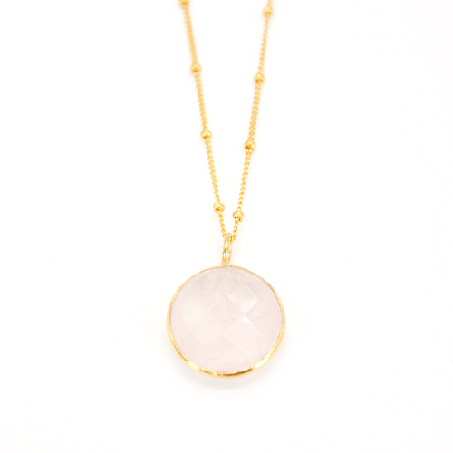Rose Quartz Round Pendant Necklace