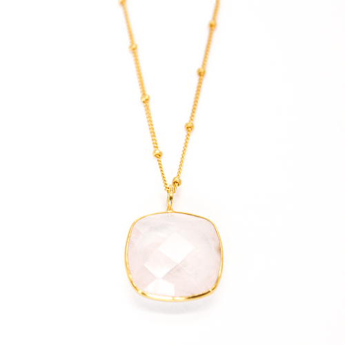 Rose Quartz Ball Chain Necklace in 14k Gold Vermeil