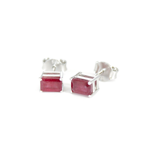Silver Ruby Studs