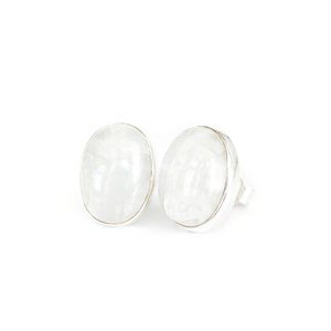 Large Oval Moonstone Studs