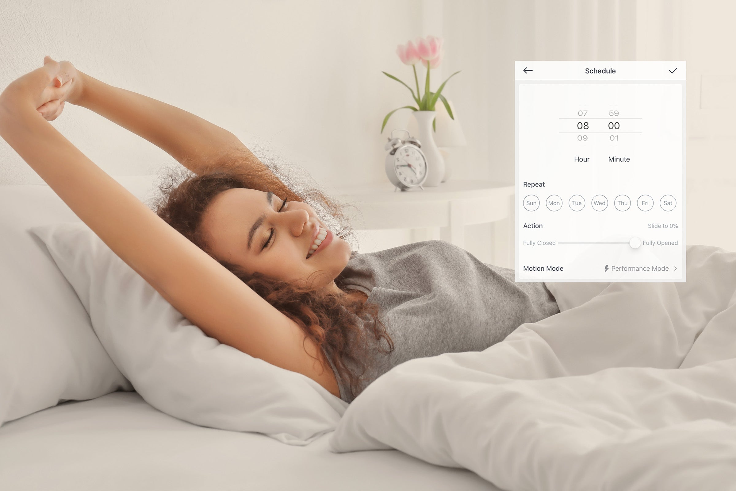 Struggling with the alarms in weekdays'morning? Let the SwitchBot Curtain save you.Set up a scheduleon yourphone, your curtains will be automatically opened before your alarm goes off.