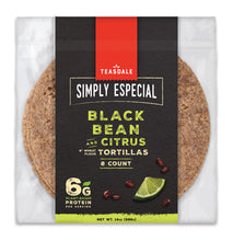 "Load image into Gallery viewer, Teasdale Simply Especial Black Bean and Citrus Tortillas 8"", 8 per bag"
