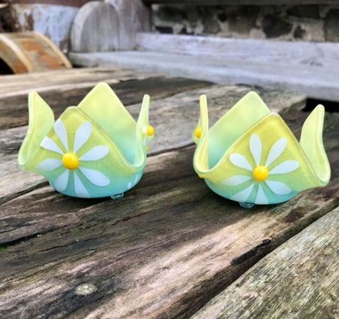 Daisy T-Lights Turquoise and yellow x 2