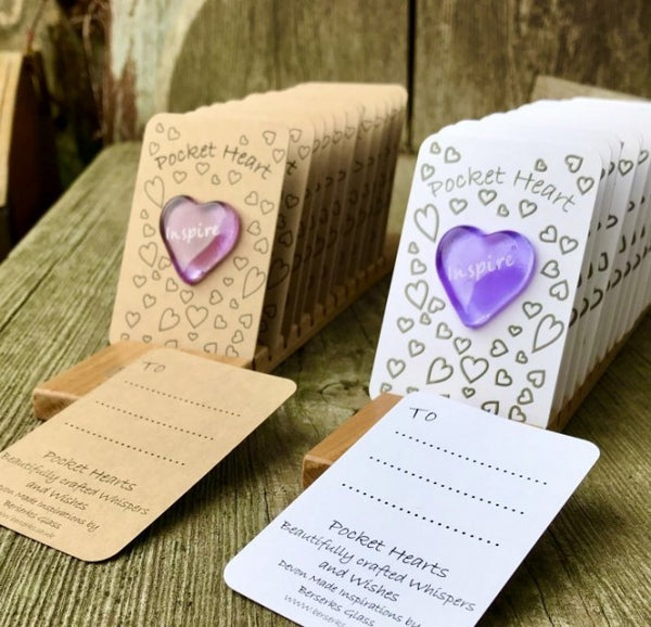 Set of 12 Pocket Hearts  INSPIRATIONAL (White Card)