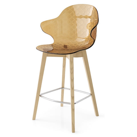 calligaris saint tropez counter stool w/wooden frame