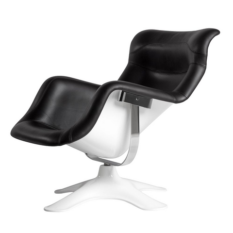 artek karuselli lounge chair in white shell and black leather