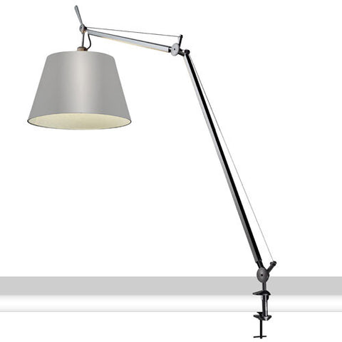 artemide tolomeo mega table lamp in clamp base with fiber shade