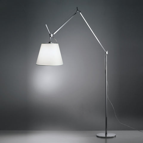 artemide all aluminum tolomeo floor lamp with fiber shade