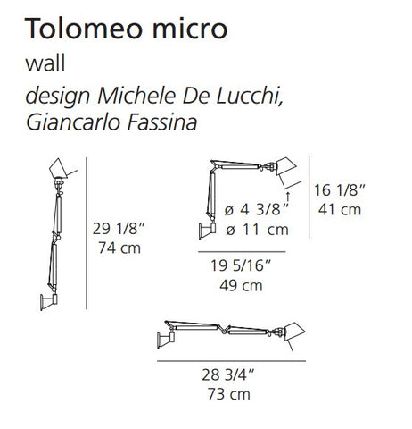 Artemide's Contemporary Micro Tolomeo Wall Light Specs