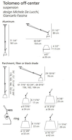 artemide tolomeo off center suspension lamp specs