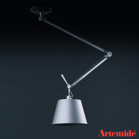 artemide tolomeo off center suspension lamp in fiber