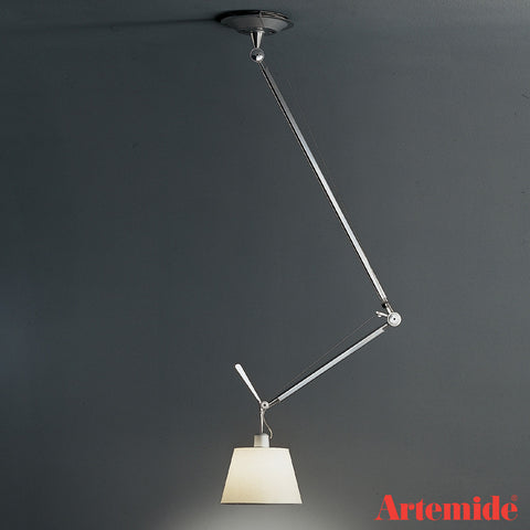 artemide tolomeo off center suspension lamp with paper parchment shade