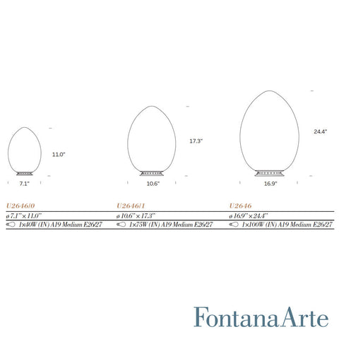 fontanaarte uovo table lamps specifications