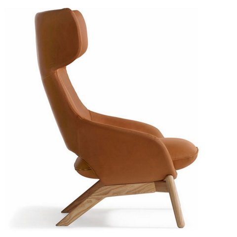 artifort kalm wood base lounge chair