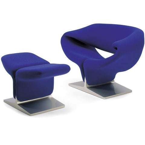 artifort ribbon chair and ottoman in blue
