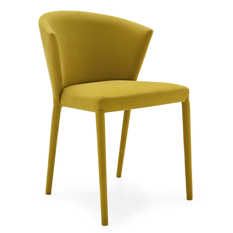calligaris amélie fabric chair in mustard yellow