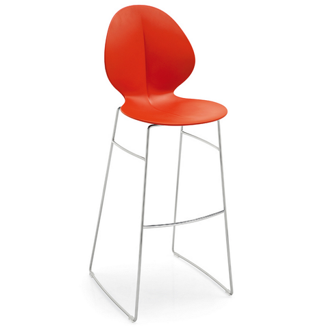 calligaris basil bar stool in red
