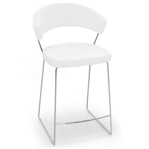 calligaris new york upholstered stool in white