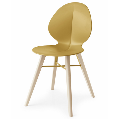 calligaris basil mw dining chair in mustard yellow