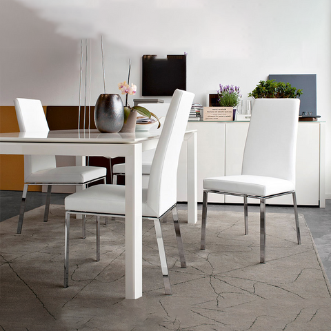 calligaris bess dining chair metal legs staged