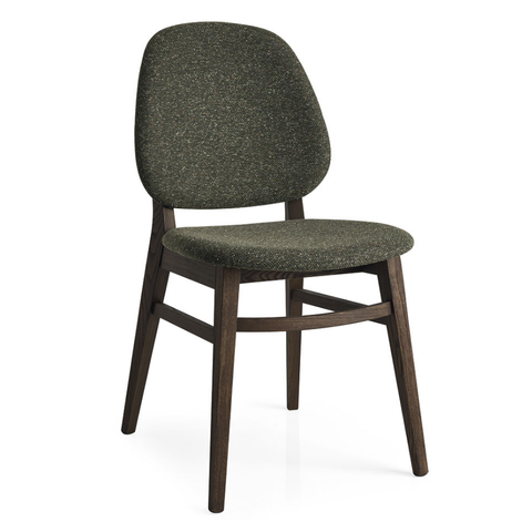 calligaris colette dining chair in tweed fabric forest green