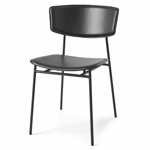 calligaris fifties leather dining chair