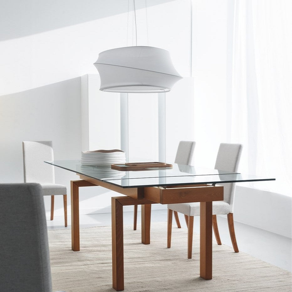calligaris lighting. calligaris hyper extending dining table staged lighting