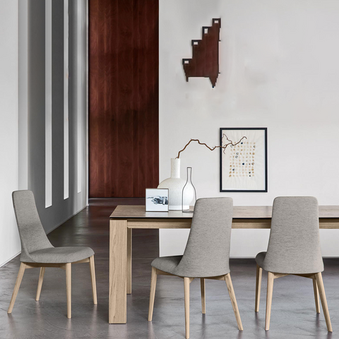 calligaris omnia 180 extendable glass dining table staged
