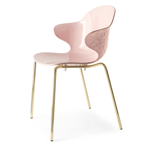 calligaris saint tropez chair metal legs in pink and brass