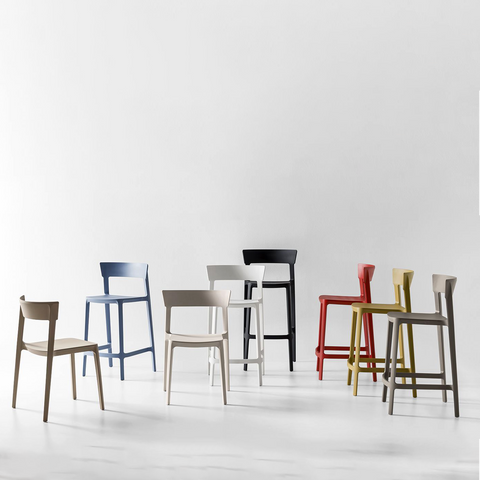 calligaris skin chairs and stools staged