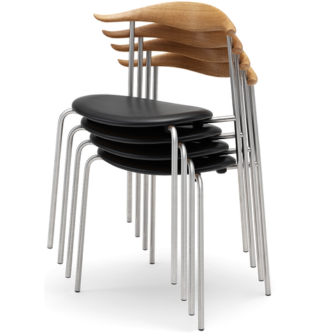 carl hansen hans wegner ch88 stacking chairs with upholstered seats