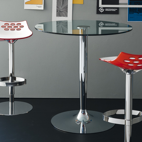 glass planet bar table staged