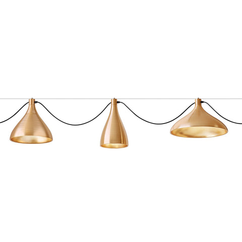 pablo swell 3 string suspension lamp in brass horizontal