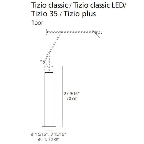 artemide tizio plus lamp with base specs