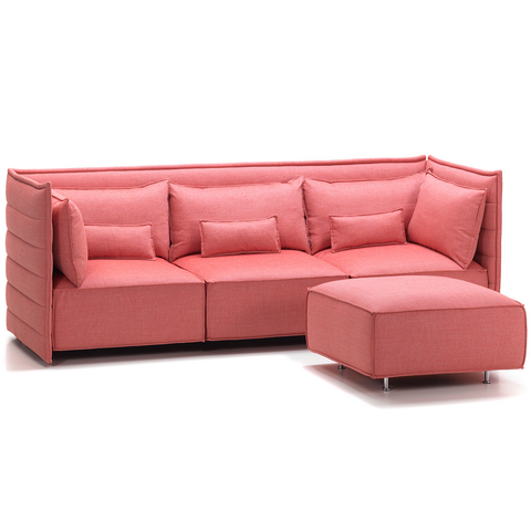vitra alcove plume three-seater sofa with ottoman