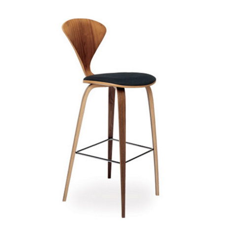 cherner wood leg stool with upholstered seat