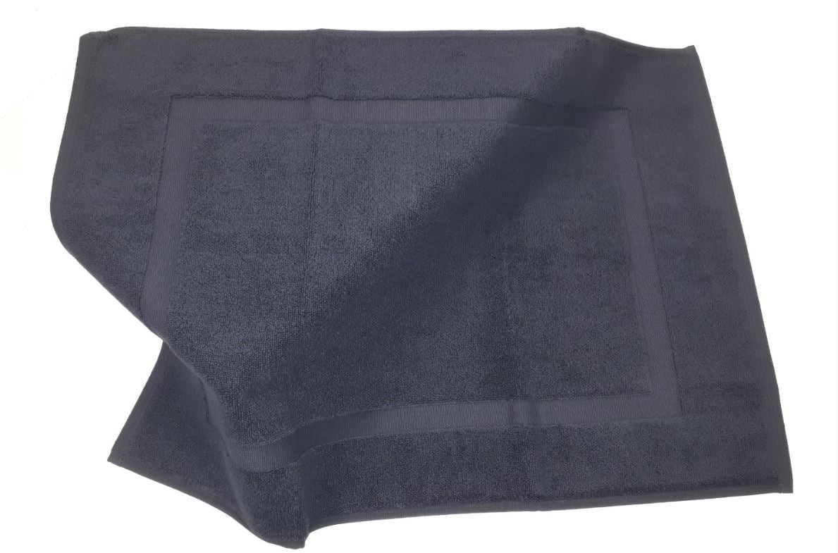 Luxury thick towelling black bath mat