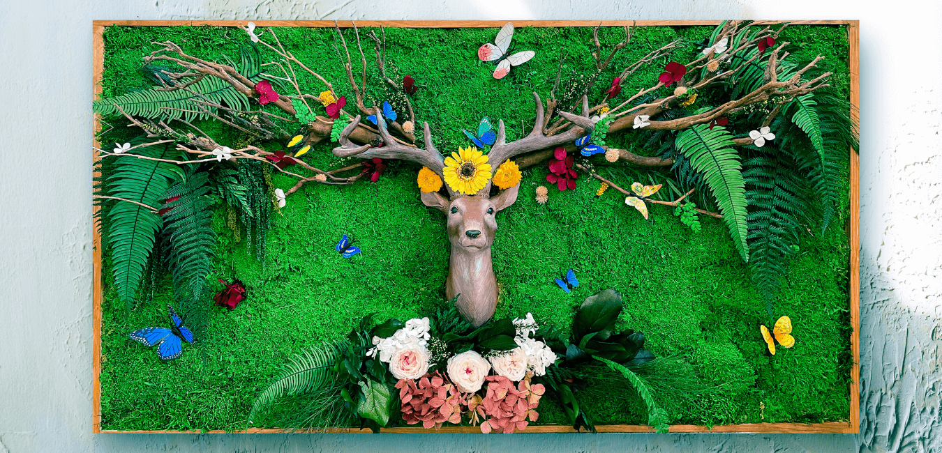 Preserved Moss wall art with Deer wall plaque