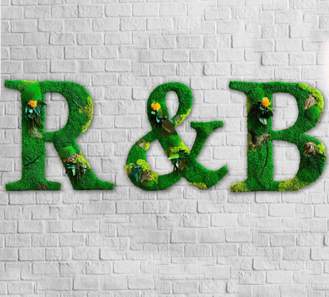 moss logo, moss logo wall, moss logo UK, moss letter, moss walls for sale, green wall logo
